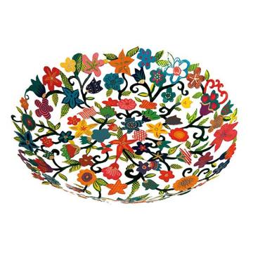 תמונה של קערה חיתוך לייזר + ציור יד- פרחים - BOP-3 | יאיר עמנואל