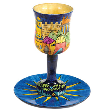Picture of גביע קידוש + תחתית - ציור יד על עץ - אורינטלי - CU-11 | יאיר עמנואל