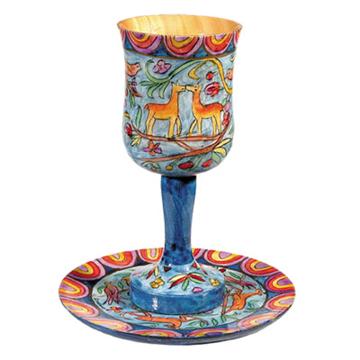 Picture of גביע קידוש + תחתית - ציור יד על עץ - איל - CU-2 | יאיר עמנואל