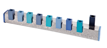 Picture of חנוכיה - עבודת פטיש - ריבועים - כחול - HMZ-3   יאיר עמנואל